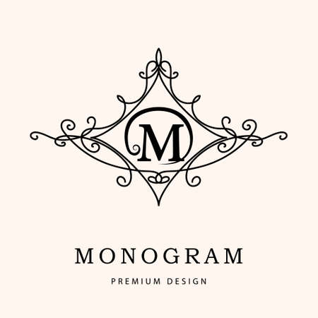 Monogram design elements, graceful template. Elegant line art design. Letter M. Emblem. Vector illustration Ilustração