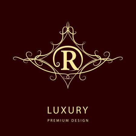 letter r: Monogram design elements, graceful template. Elegant line art design. Letter R. Emblem. Vector illustration