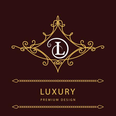 l background: Monogram design elements, graceful template. Elegant line art icon design. Letter L. Emblem. Vector illustration