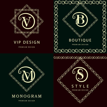s and m: Vector illustration of Monogram design elements, graceful template. Elegant line art logo design. Letter M, S, V, B. Emblem