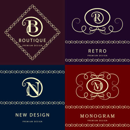 vintage: Vector illustratie van Monogram design elementen, sierlijke sjabloon. Elegante lijntekeningen logo design. Letter M, N, R, B. Emblem.