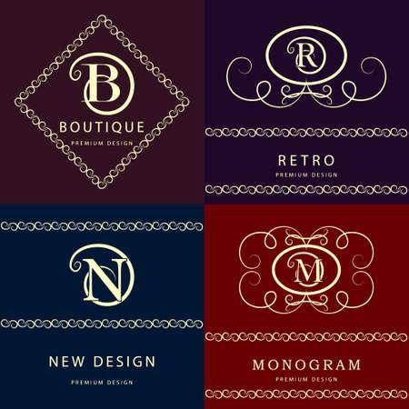 b n: Vector illustration of Monogram design elements, graceful template. Elegant line art logo design. Letter M, N, R , B. Emblem. Illustration