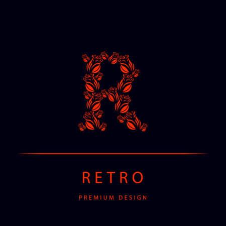 Vector illustration of Letter R from roses. Monogram design elements, graceful template. Elegant line art logo design. Emblem.