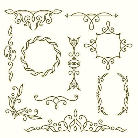 Vector illustration of  Monogram design elements, graceful template. Elegant line art logo design, frames and borders Illustration