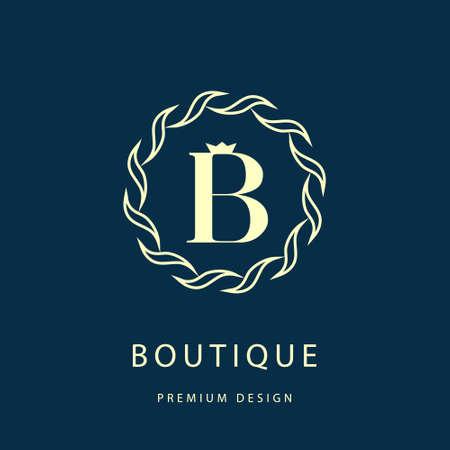 Vector illustration of Calligraphic design elements, graceful template. Elegant line art logo design. Letter B. Emblem.