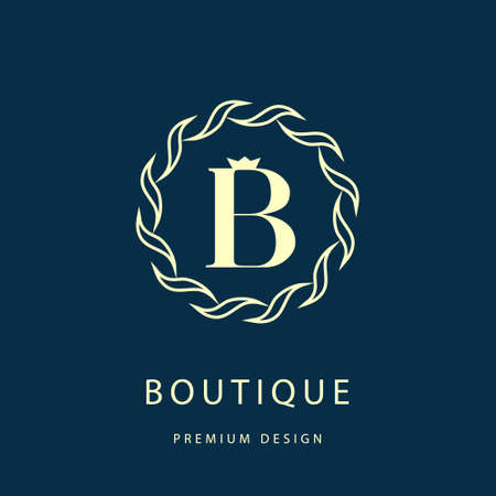 boutiques: Vector illustration of Calligraphic design elements, graceful template. Elegant line art logo design. Letter B. Emblem.