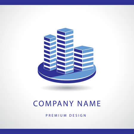抽象実不動産ロゴ デザイン テンプレートのベクター イラストです。建物のシルエット。事務所。