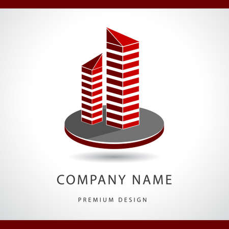 Vector illustration of  Abstract Real estate logo design template. Building silhouette. Offices. Çizim