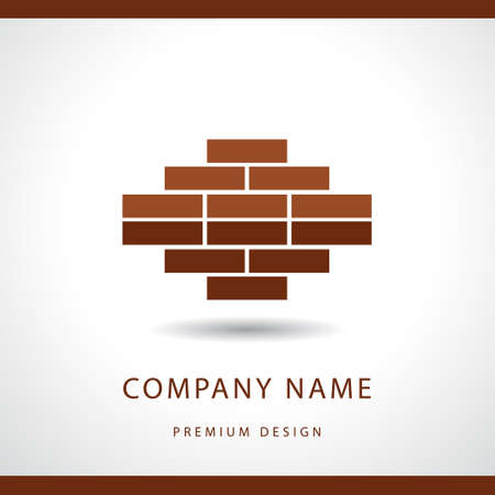 Vector illustration of  Construction and repair. Real estate company logo design. Brick wall.