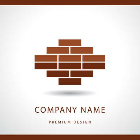 mason: Vector illustration of  Construction and repair. Real estate company logo design. Brick wall.