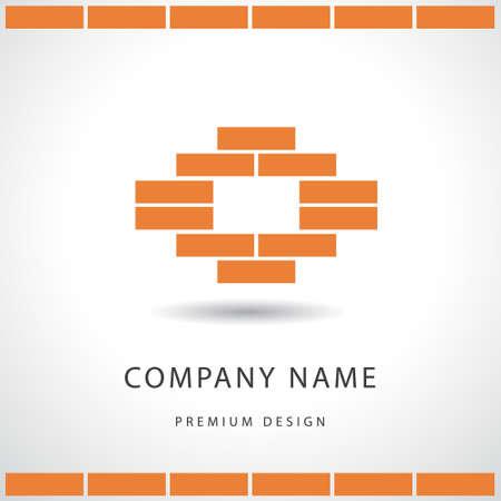 logotipo de construccion: Ilustraci�n vectorial de construcci�n y reparaci�n. Bienes dise�o logotipo de la empresa inmobiliaria. Pared de ladrillo. Vectores