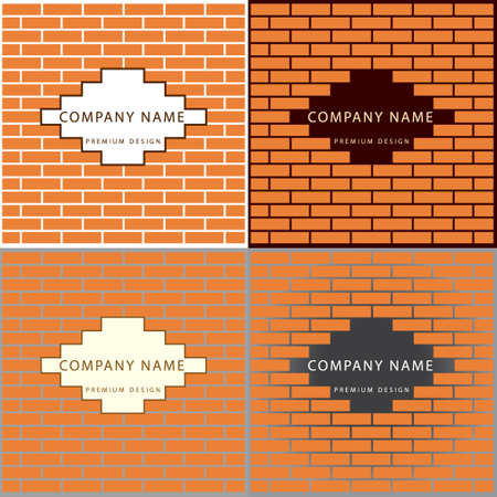 industrial complex: Vector illustration of  Construction and repair. Real estate company logo design. Brick wall.