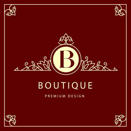 Vector illustratie van Monogram design elementen gracieuze sjabloon. Elegant lijn kunst ontwerp. Bedrijfsnaam voor Restaurant Royalty Boutique Cafe Hotel Heraldische Sieraden Mode Wijn.