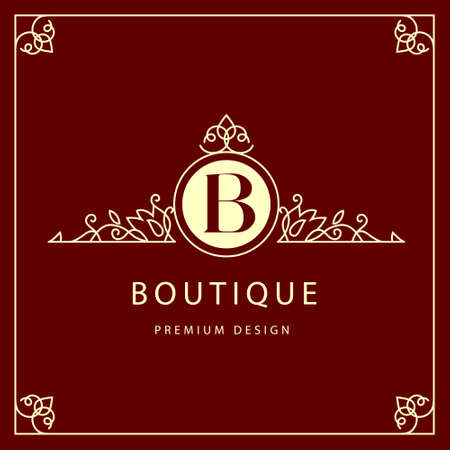 Vector illustration of Monogram design elements graceful template. Elegant line art design. Business sign identity for Restaurant Royalty Boutique Cafe Hotel Heraldic Jewelry Fashion Wine.