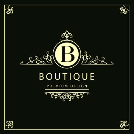 crest: Vector illustration of Monogram design elements graceful template. Elegant line art logo design. Business sign identity for Restaurant Royalty Boutique Cafe Hotel Heraldic Jewelry Fashion Wine.