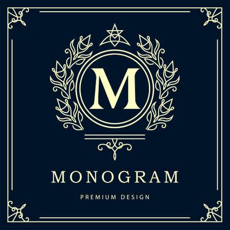 Vector illustratie van Monogram ontwerpelementen sierlijke sjabloon. Elegant lijn art design. Bedrijfsteken identiteit voor Restaurant Royalty Boutique Cafe Hotel heraldische Jewelry Fashion Wine