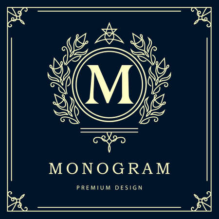 hotel: Vector illustration of Monogram design elements graceful template. Elegant line art design. Business sign identity for Restaurant Royalty Boutique Cafe Hotel Heraldic Jewelry Fashion Wine