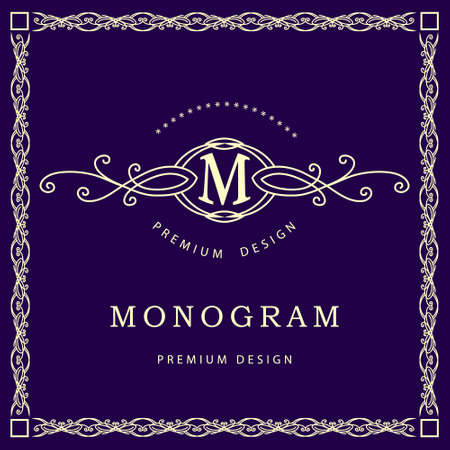 Vector illustration of Monogram design elements graceful template. Elegant line art design. Business sign identity for Restaurant Royalty Boutique Cafe Hotel Heraldic Jewelry Fashion Wine
