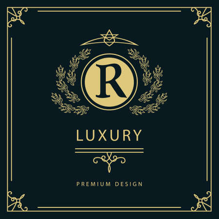 Vector illustration of Monogram design elements graceful template. Elegant line art logo design. Business sign identity for Restaurant Royalty Boutique Cafe Hotel Heraldic Jewelry Fashion Wine