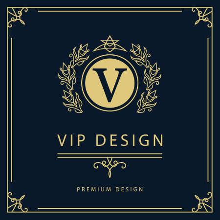 モノグラム デザイン要素優雅なテンプレートのベクター イラストです。エレガントなライン アートのロゴデザイン。レストラン ロイヤリティ ブテ
