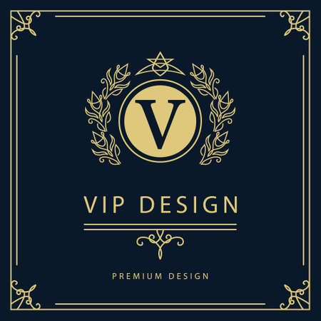 luxury template: Vector illustration of Monogram design elements graceful template. Elegant line art logo design. Business sign identity for Restaurant Royalty Boutique Cafe Hotel Heraldic Jewelry Fashion Wine