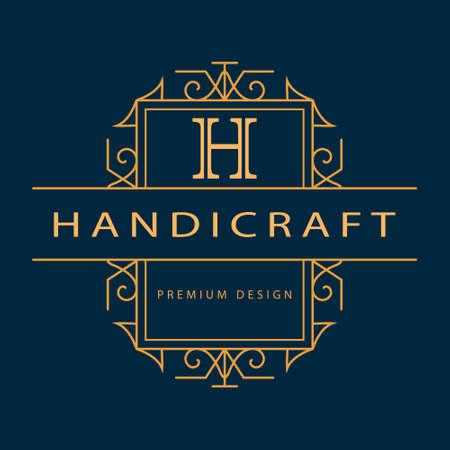 Vector illustration of Monogram design elements graceful template. Elegant line art logo design. Business sign identity for Restaurant Royalty Boutique Cafe Hotel Heraldic Jewelry Fashion Wine. Vector