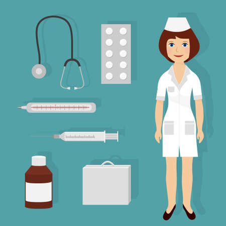 Vector illustration of Set of medical elements with smiling woman doctor Vector