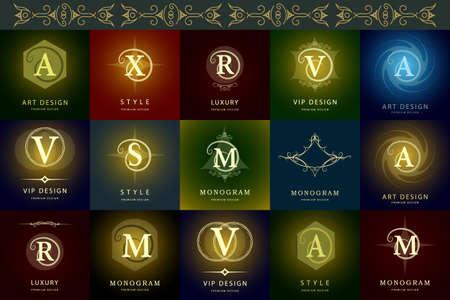 modern flowers: Vector illustration of Monogram design elements graceful template. Elegant line art design. Business sign identity for Restaurant Royalty Boutique Cafe Hotel Heraldic Jewelry Fashion Wine.