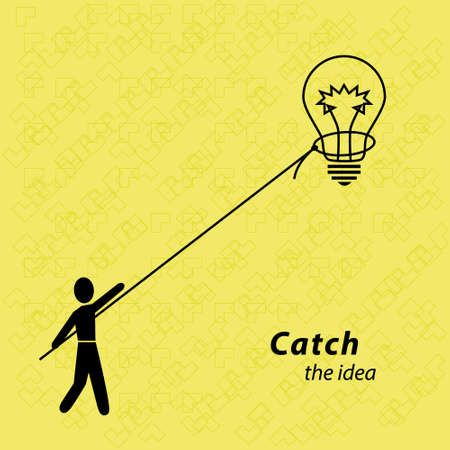 threw: Vector illustration of The man threw the loop on the light bulb. Person hold the rope idea. Vector illustration