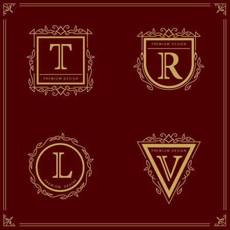 decorative letter: Vector illustration of Monogram design elements graceful template. Elegant line art design. Business sign identity for Restaurant Royalty Boutique Cafe Hotel Heraldic Jewelry Fashion Wine.