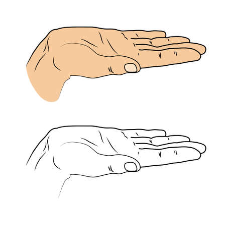 submission: Vector illustration of Open palm. Insulated black outline and colored drawn cropped hand on a white background. Gesture to give. Good for design submission to represent something.