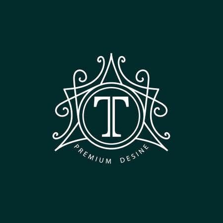 時尚: 的會標設計元素的矢量插圖優雅的模板。優雅的線條設計。對於餐廳版稅精品咖啡酒店紋章飾品時尚葡萄酒業務的標誌標識。