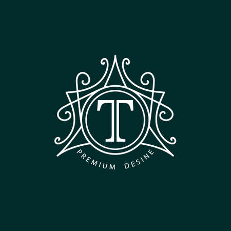 fashion: Vector illustration de la conception de monogramme éléments de modèle gracieux. Design élégant de l'art en ligne. Professionnel signe identité Restaurant Libre Boutique Cafe Hôtel Bijoux héraldique du vin Mode. Illustration