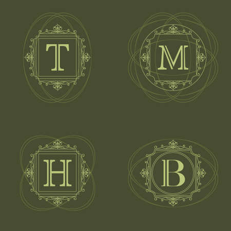 Vector illustration of Monogram design elements graceful template. Elegant line art logo design. Vector