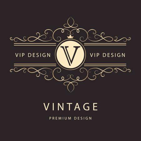 モノグラム デザイン要素優雅なテンプレートのベクター イラストです。エレガントなライン アートのロゴデザイン。  イラスト・ベクター素材