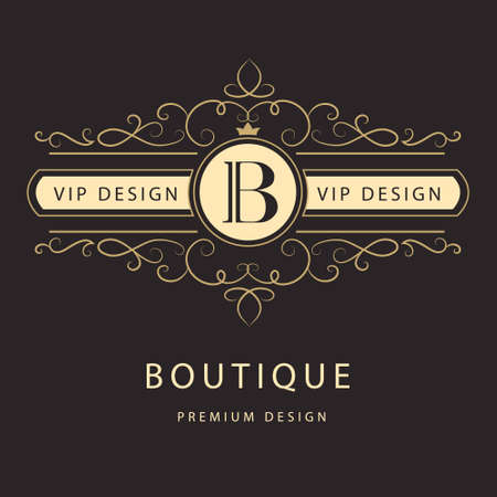 Vector illustration of Monogram design elements graceful template. Elegant line art logo design. Ilustração