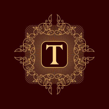 Vectorillustratie van Monogram ontwerpelementen sierlijke sjabloon. Elegant lijn kunst logo ontwerp. Stock Illustratie