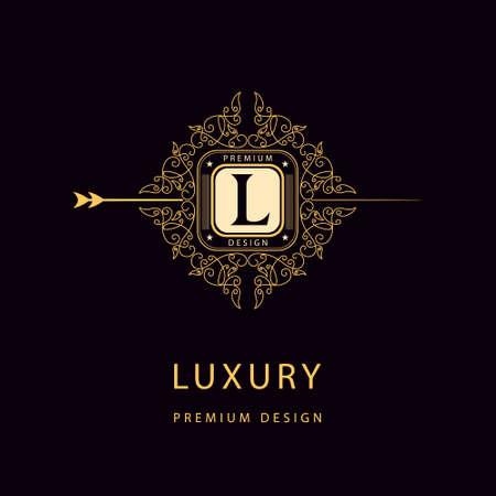 boutique: Vector illustration of Monogram design elements graceful template. Elegant line art logo design. Illustration