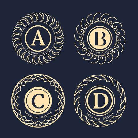 business sign: Vector illustration of Monogram design elements graceful template. Elegant line art  design. Business sign