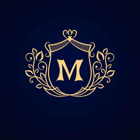 Vector illustratie van het Monogram ontwerpelementen sierlijke sjabloon. Elegante lijntekeningen logo design. Bedrijfsteken identiteit voor Restaurant Royalty Boutique Cafe Hotel heraldische Jewelry Fashion.
