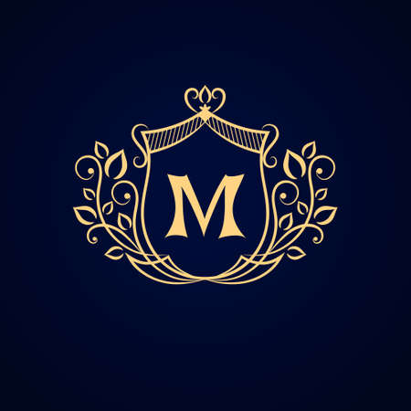 Vector illustration of Monogram design elements graceful template. Elegant line art logo design. Business sign identity for Restaurant Royalty Boutique Cafe Hotel Heraldic Jewelry Fashion.