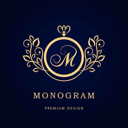 Ilustración de vector de plantilla elegante de elementos de diseño de monograma. Diseño de logotipo de línea elegante. Identidad comercial para restaurante Royalty Boutique Cafe Hotel Joyería heráldica Moda Vino.