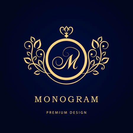 logo: Vector illustration of Monogram design elements graceful template. Elegant line art logo design. Business sign identity for Restaurant Royalty Boutique Cafe Hotel Heraldic Jewelry Fashion Wine.