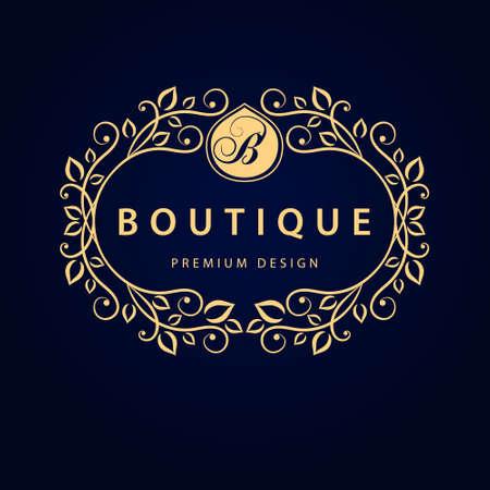 boutique hotel: Ilustración vectorial de elementos de diseño del monograma plantilla elegante. Línea logotipo del arte Diseño elegante. Negocios signo de identidad para restaurante Royalty Boutique Cafe Hotel Joyería heráldico Wine Moda.