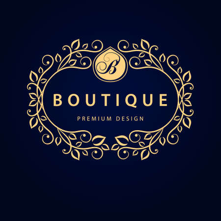 boutiques: Vector illustration of Monogram design elements graceful template. Elegant line art logo design. Business sign identity for Restaurant Royalty Boutique Cafe Hotel Heraldic Jewelry Fashion Wine.