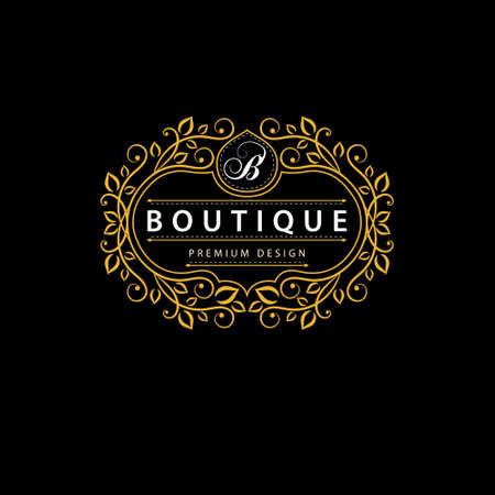 elegant template: Vector illustration of Monogram design elements graceful template. Elegant line art logo design. Business sign identity for Restaurant Royalty Boutique Cafe Hotel Heraldic Jewelry Fashion Wine.
