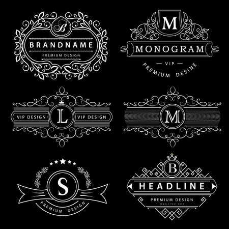 Vector illustration of Monogram design elements graceful template. Elegant line art . Business sign identity for Restaurant Royalty Boutique Cafe Hotel Heraldic Jewelry Fashion Wine.