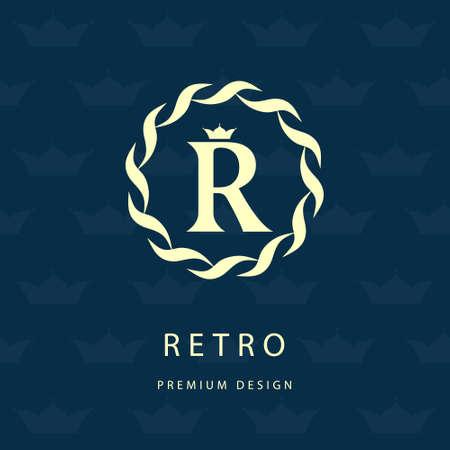 crest: Vector illustration of Monogram design elements graceful template. Elegant line art design. Letter R. Retro Vintage Insignia. Business sign identity label badge and object. Illustration
