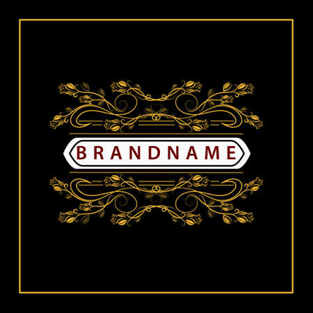 luxury template: Vector illustration of Monogram design elements graceful template. Elegant line art design. Business sign identity for Restaurant Royalty Boutique Cafe Hotel Heraldic Jewelry Fashion Wine.