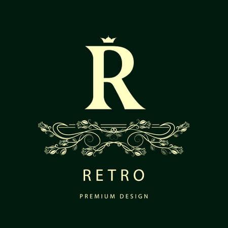 r: Vector illustration of Monogram design elements, graceful template. Elegant line art design. Letter R. Business sign, identity for Restaurant, Royalty, Boutique, Cafe, Hotel, Heraldic, Jewelry, Fashion, Wine. Illustration